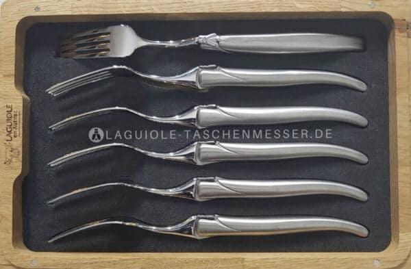laguiole en aubrac gabel-set stahl hochglanz matt