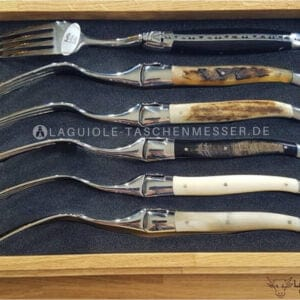 laguiole en aubrac gemischtes horn gabel-set