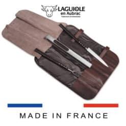 laguiole en aubrac grillbesteck 3-teiliges mit ledertasche