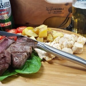 laguiole en aubrac steakmesser mit stahl hochglanz matt