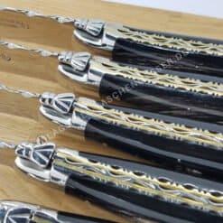 laguiole en aubrac steakmesser set 6tlg doppelplatine buffelhorn