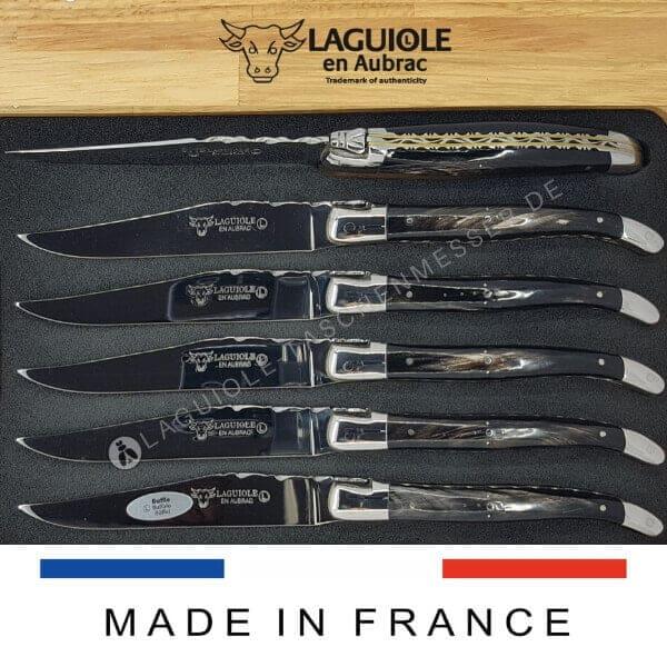 laguiole en aubrac steakmesser set doppelplatine griff holz oder buffelhorn