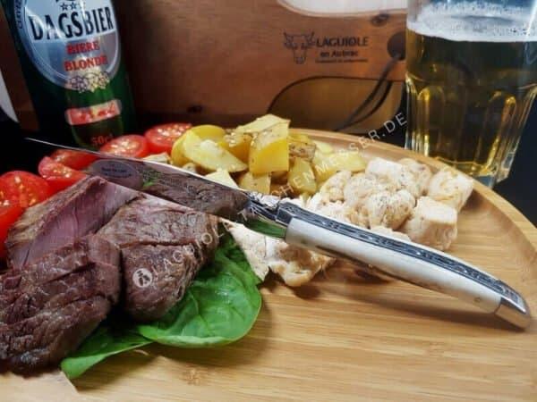 laguiole en aubrac steakmesser set hirschhorn glanzend finish