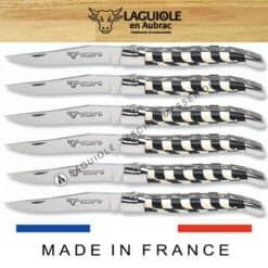 laguiole steakmesser set 6-tlg intarsien ebenholz und knochen