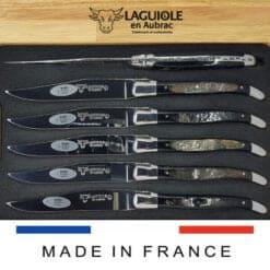 laguiole steakmesser set buffelhorn-kruste
