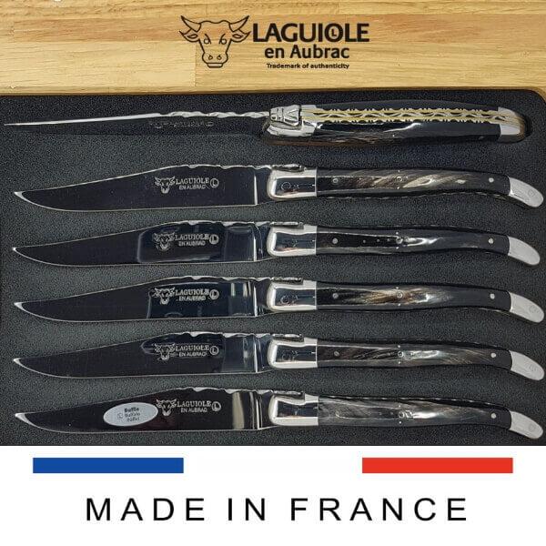 laguiole steakmesser set doppelplatine griff holz oder buffelhorn