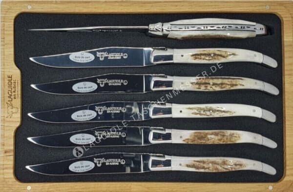 laguiole steakmesser set hirschhorn glanzend finish