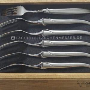 original laguiole en aubrac gabel-set stahl hochglanz matt