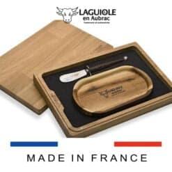 laguiole buttermesser mantequilla mit butterteller in holzbox
