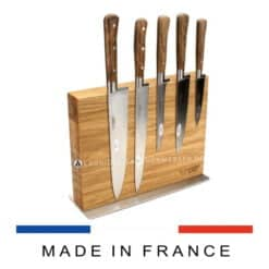 laguiole en aubrac kochmesserset walnussholz 6-teilig mit magnetblock